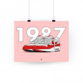 Air Max 1 OG Red Square Print   La Sneakerie