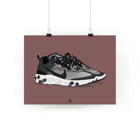 React Element 87 Anthracite Black Poster | La Sneakerie