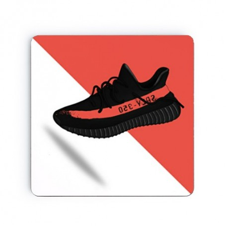 Yeezy Boost 350 V2 Core Black Red Square Coaster | La Sneakerie