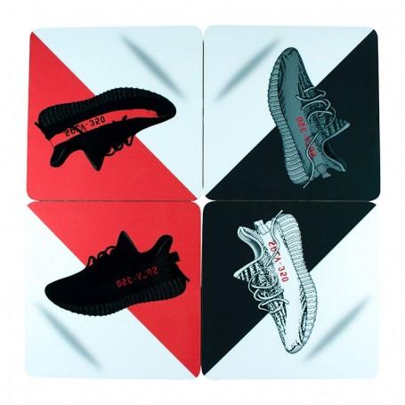 Pack Dessous de verre carrés Yeezy Boost 350 V2 x4 | La Sneakerie
