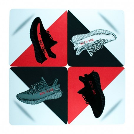 Pack Magnets carrés Yeezy Boost 350 V2 x4 | La Sneakerie
