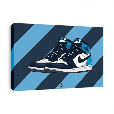 Air Jordan 1 Obsidian UNC Canvas Print | La Sneakerie
