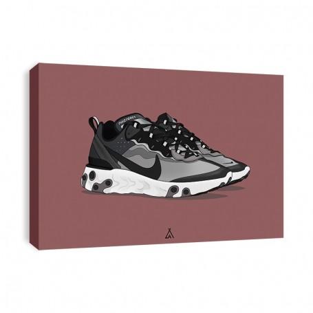 React Element 87 Anthracite Black Canvas Print | La Sneakerie