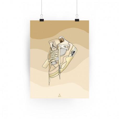Air Jordan 4 Off White Poster | La Sneakerie