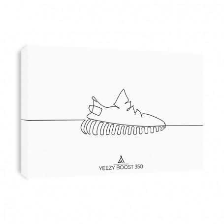 One Line Yeezy 350 V2 Canvas Print | La Sneakerie