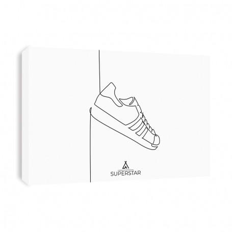 One Line Superstar Canvas Print   La Sneakerie