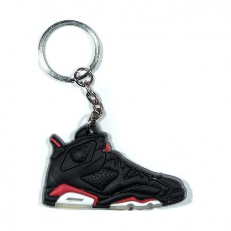 Air Jordan 6 Black Infrared Silicone Keychain   La Sneakerie